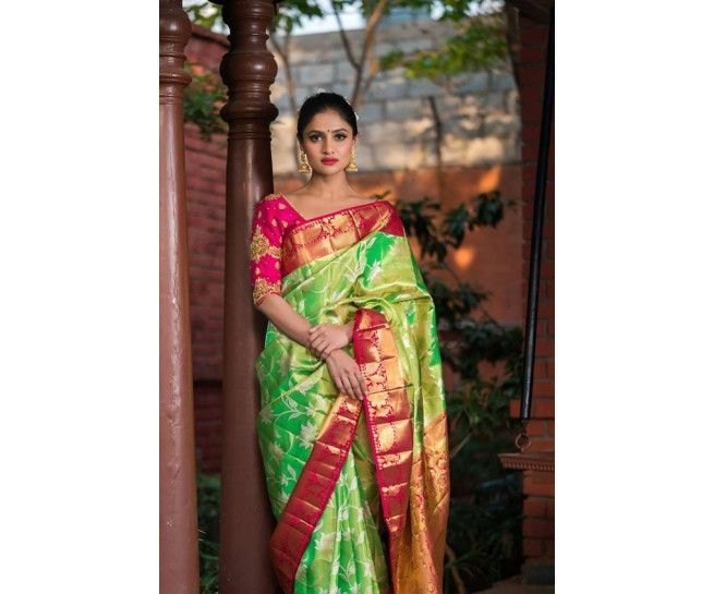 00SILK4495CUSTOM - Pre order parrot green tissue silk saree in pink border