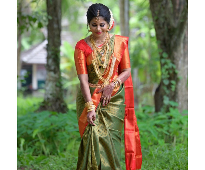 0099904 Green wedding saree