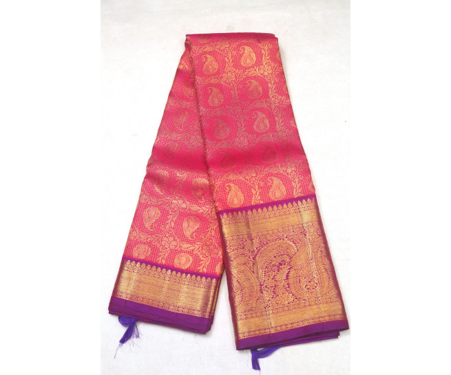 00KANCHI3900PERU74 - pink kanchipuram saree in butta flower design
