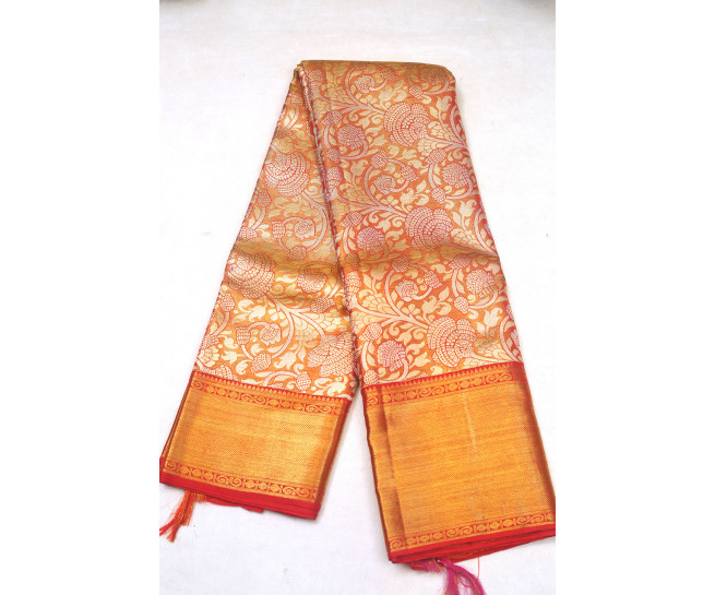00KANCHI3900PERU91 - light mustard kanchipuram silk saree in flower design