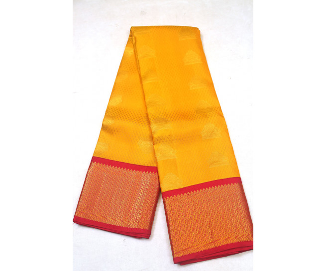 00PATTU5001PERU14 - Yellow pattu saree in red border