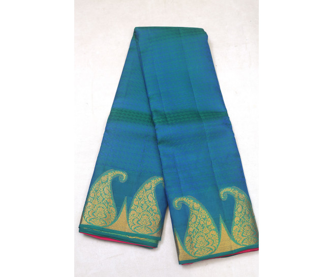 00PATTU5001PERU16 - peacock blue pattu saree in big buttas border