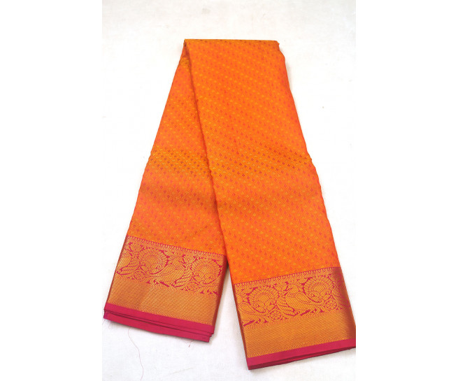 00PATTU5001PERU17 - mustard orange mix pattu saree