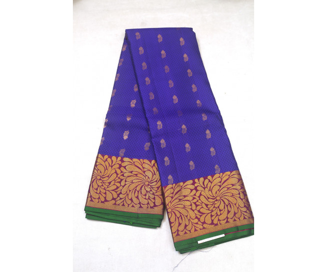 00PATTU5001PERU21 - Violet pattu saree in brinjal colour border