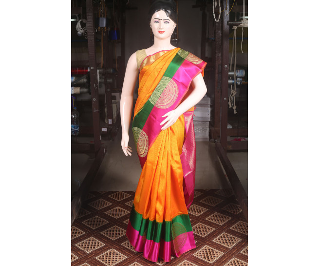 00KANCHI4000AKN103 - orange kanchipuram silk saree with green pink border