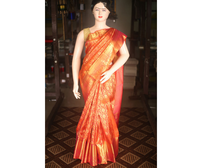 00KANCHI4000AKN001 - orange pink kanchipuram saree in peacock design
