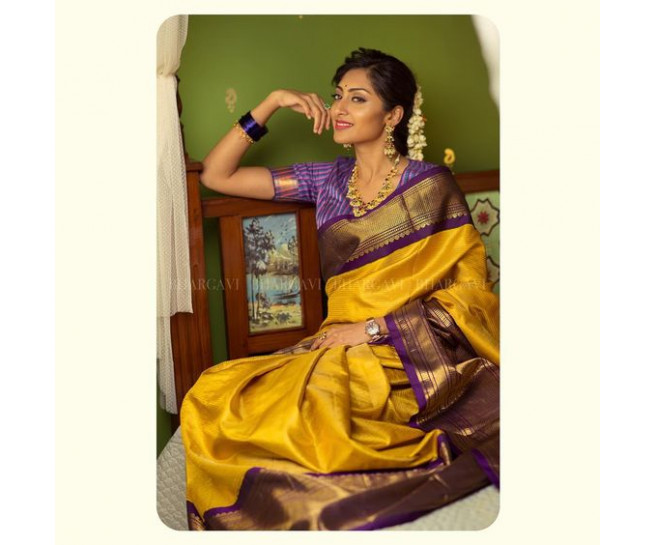 00KANCHI3500PERU6 - Mustard kanchipuram silk saree in meenakshi colour border