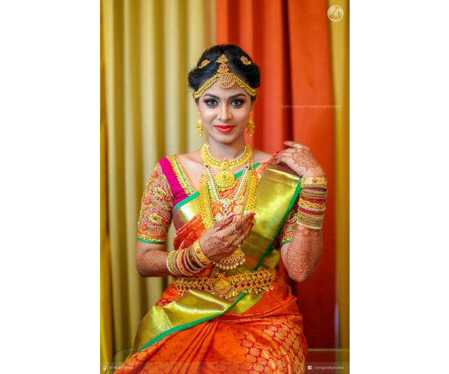 00KANCHI3900PERU21 - Orange pink mix kanchipuram saree in rexona green border