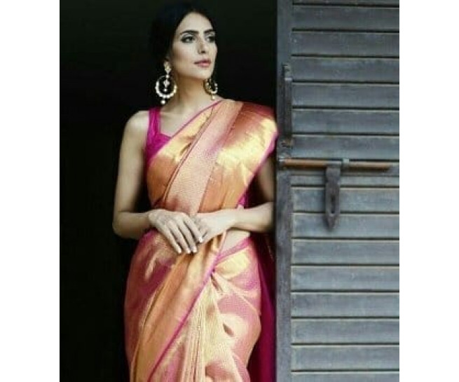00BRID4003BNET - Pink gold zari net screen design wedding saree