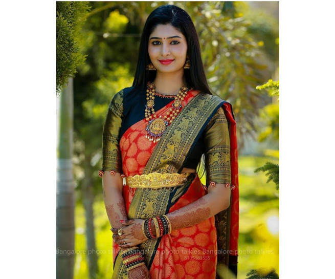 00KANCHI3500PERU23 - Red kanchipuram silk saree in navy blue border