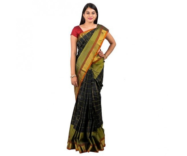 Uppada pattu saree in black colour ABHUP012
