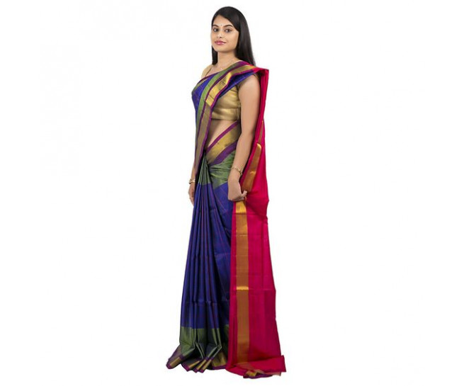 Uppada saree in blue colour  :ABHUP002