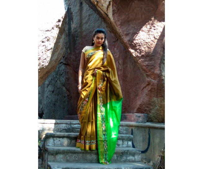 03AB37847 - Mustard Uppada saree in green palllu
