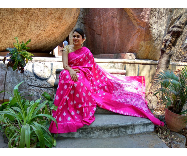 03AB37848 - Rose colour uppada saree