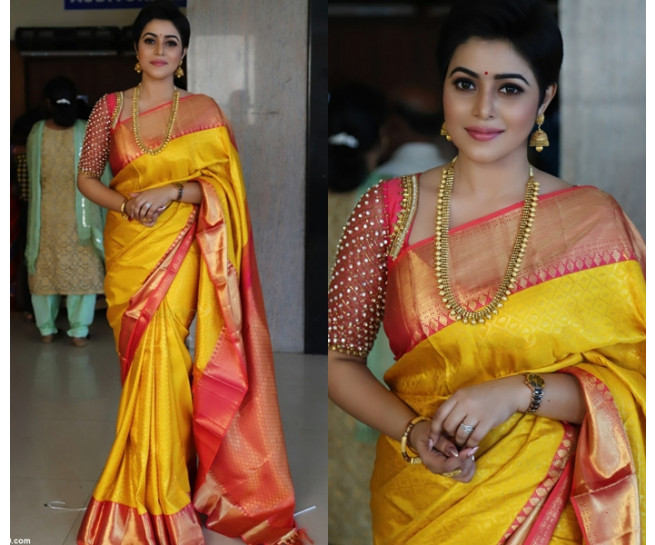 0092 Yellow kanchipuram saree