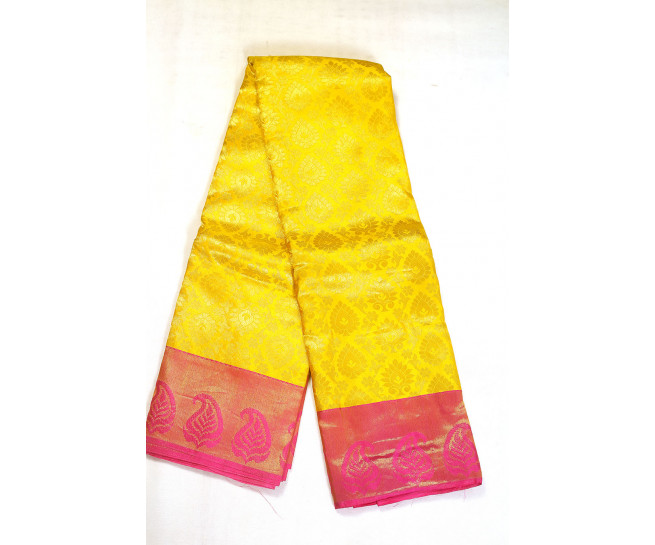00BRID5016AKM - yellow and pink bridal silk saree