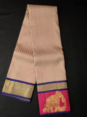 000KANCHI4439PONNU10- sandal kanchipuram silk saree gold border