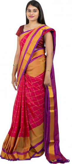 003AB37843 - red colour uppada saree in stripes