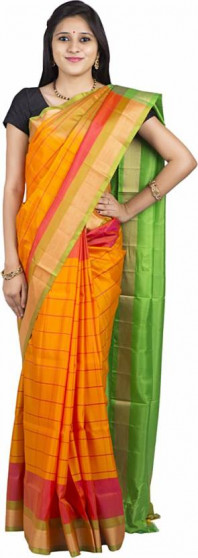 003AB37849 - Rust orange uppada saree in green pallu