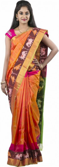 003AB37840 - Rust orange uppada saree in parrot green pallu