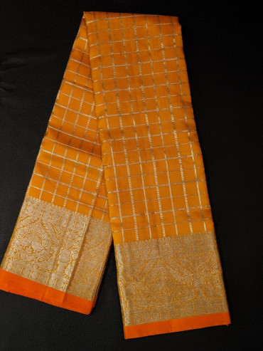 00KANCHI4439PONNU15 - mustard kanchipuram saree with gold border
