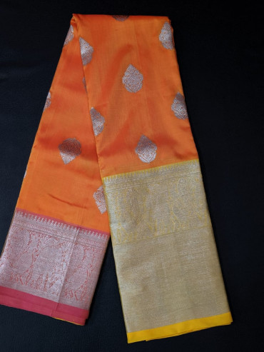 00KANCHI4439PONNU17 - orange  kanchipuram saree with gold border