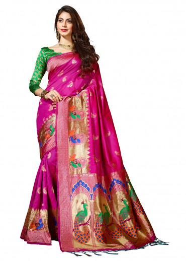 000KANCHI4438AKN22 - pink kanchipuram saree lime green
