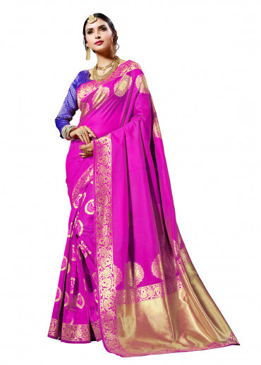 000KANCHI4437 - pink designer kanchipuram saree with purple jacquard blouse