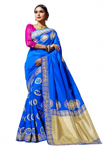 000KANCHI4436AKN16 - blue kanchipuram silk saree with pink blouse