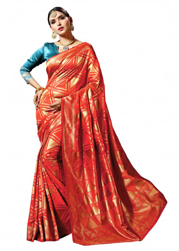 00KANCHI4436 - red designer kanchipuram saree with turquoise blue jacquard blouse