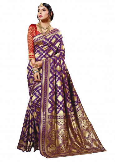 000KANCHI4435 - purple kanchipuram silk saree with red blouse