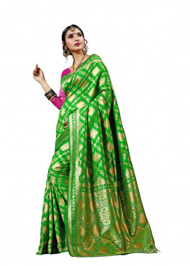 00KANCHI4000AKN25 - lime green  kanchipuram saree with pink blouse