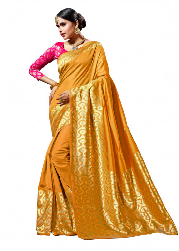 000KANCHI4000AKN19 - mustard  kanchipuram silk saree with pink blouse