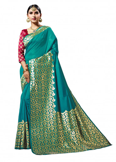 00KANCHI4437AKN17 - turquoise designer kanchipuram silk saree with maroon blouse