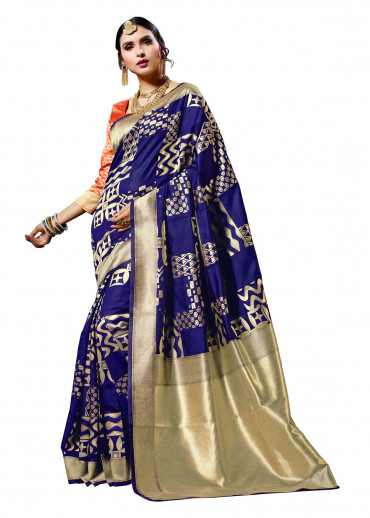 000KANCHI4000AKN122 - blue kanchipuram saree red blouse