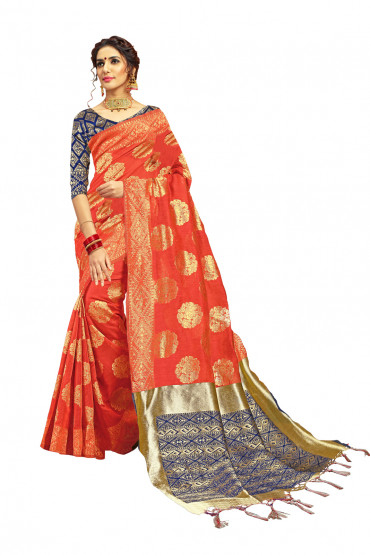 00KANCHI4000AKN121 -orange kanchipuram silk saree blue blouse