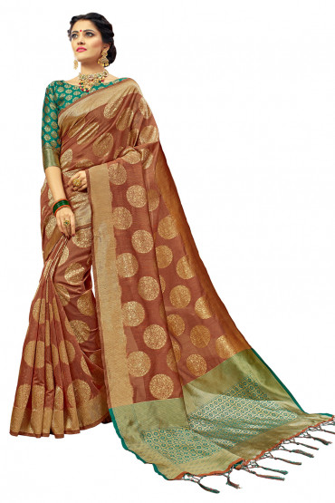 000KANCHI4000AKN120 - rust kanchipuram saree with green blouse