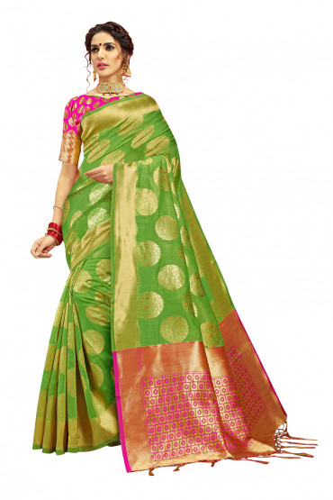 000KANCHI4000AKN118 - lime green kanchipuram silk saree pink blouse