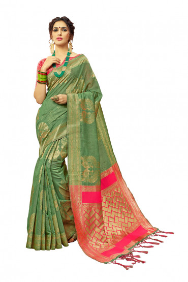 00KANCHI4000AKN117 - green kanchipuram saree with pink blouse