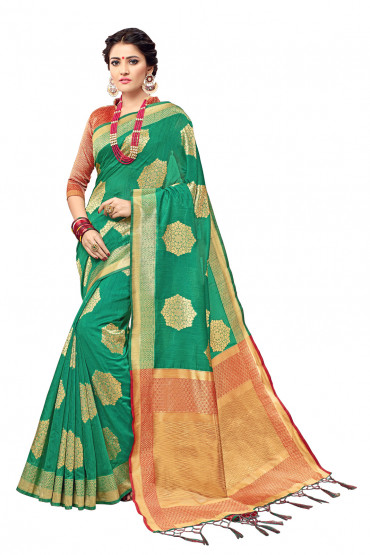 00KANCHI4000AKN115- green kanchipuram silk saree with red blouse