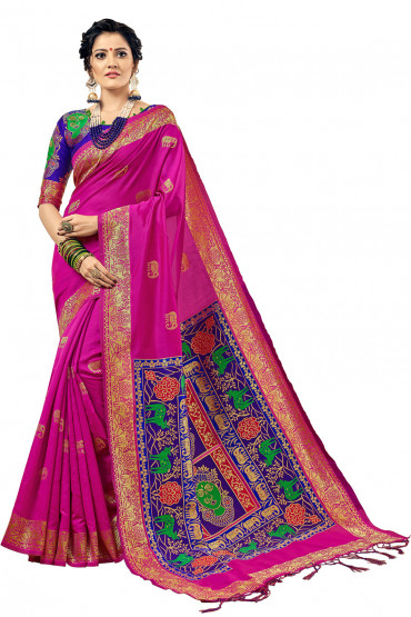 00KANCHI4000AKN110 - pink kanchipuram saree with blue blouse
