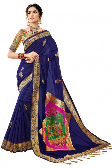 000KANCHI4000AKN109 - blue kanchipuram silk saree with gold blouse