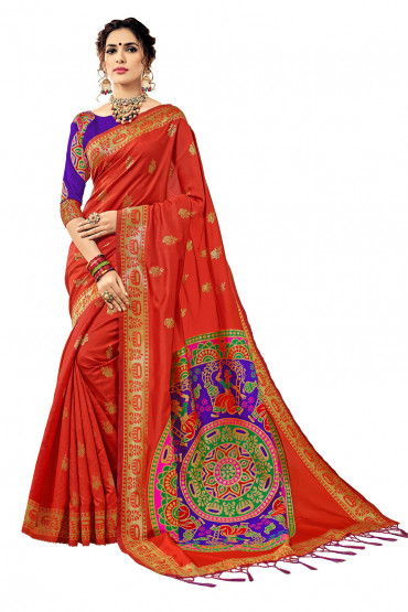 000KANCHI4000AKN108 - orange kanchipuram saree blue blouse
