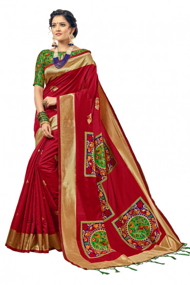 000KANCHI4000AKN107 - red kanchipuram silk saree with green blouse
