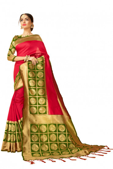 000KANCHI4000AKN114 - pink kanchipuram saree with green blouse