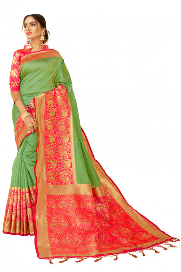 000KANCHI4000AKN113 - green kanchipuram silk saree with pink blouse