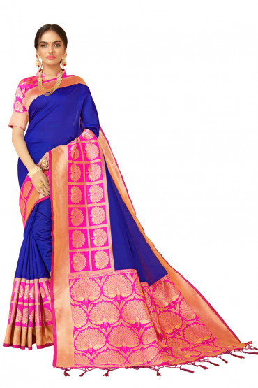000KANCHI4000AKN112 - blue kanchipuram saree with pink blouse