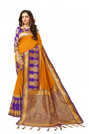 000KANCHI4000AKN111 - mustard kanchipuram silk saree with blue blouse