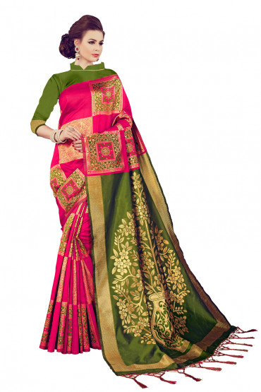 00KANCHI4438AKN20 - Pink kanchipuram silk saree with Green blouse