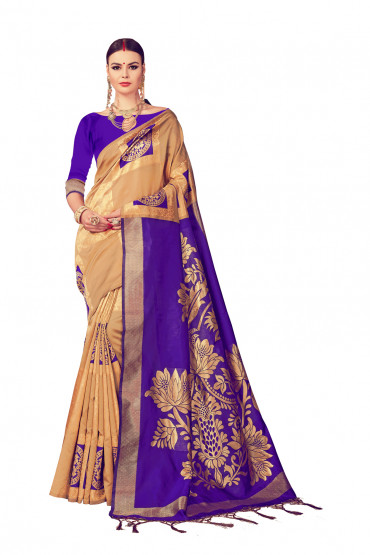 00KANCHI4436AKN15 -Gold designer kanchipuram saree with blue blouse